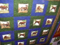 This horse quilt is made from cotton fabric.Its
