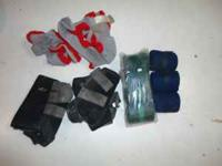 2 pr splint/skid boots, fly masks, leather reins and