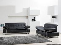 Max West 3pc Black Geniune Leather Sofa Living Room