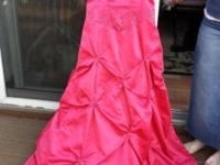 Beautiful hot pink satin prom or formal dress size 3.