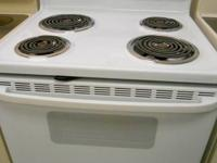 White Hotpoint Coil Stove, Time Delay, Oven Timer, Self