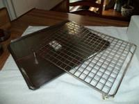 3 stainless cookie sheets and cooling rack $10, white