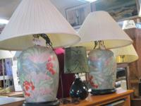 LOTS OF HOUSEHOLD ITEMS - LAMPS, VASES, BRIC-A-BRAC,