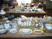 Many household items for sale: Old dishes, Glassware,