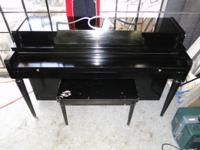 Howard Built by Baldwin Upright Piano with Chair, in