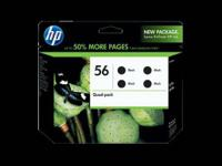 New Sealed In Retail Box HP 56 4-pack Black inkjet