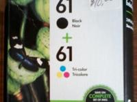 HP 61 2-pack Black/Tri-color Original Ink Cartridges.