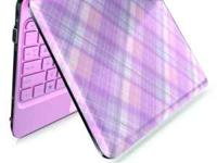 HP netbook in pink plaid, the entire netbook is a