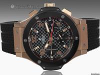 Features Chronograph Case Details 18K Rose Gold, Black