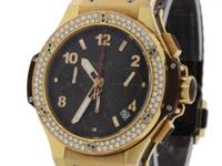 Hublot Big Bang 18k Rose Gold Brown Diamond Chronograph