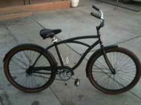 "26"" FLAT BLACK BEACH CRUISER SINGLE SPEED WITH COASTER"