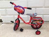 "HUFFY DISNEY ""CARS"" 10"" BIKE FOR AGES 3 TO 5 LIKE NEW"