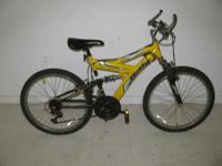 This mountain bike comes in yellow and black, has a 27""