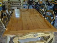 SOLID MAPLE DINING SET, WAS $7000 NEW, 3 YEARS OLD FROM