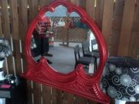 Huge funky red mirror perfect addition to your eclectic