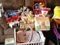 Lot of American Girl Bitty baby items a mountain of