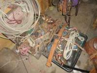 ropes, bridles, bits, halters, various leather pieces,