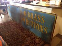 Huge Metal Vintage Brass Button Sign Advertising Great