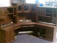 This is a huge, oak, modular desk for an office. It is