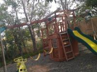 HUGE OUTDOOR WOODEN PLAY/SWINGSET ** MUST SELL