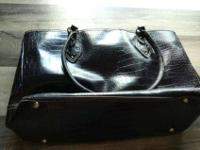 Pleather purse with crocodile design, dark brown, with