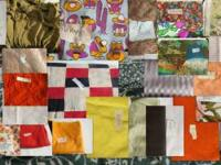 Bolts and swatches of fabric and lace, ribbon, etc. for