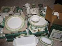 Set includes: 9 Dinner Plates, 8 saucers, 4 Glasses,