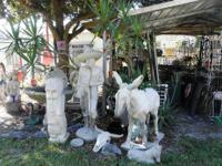 VERY LARGE CEMENT STATUARY PAIR! DONKEY AND MEXICAN MAN