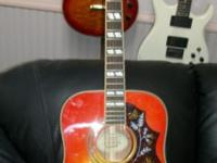 like new guitar with on board electronics, mahogany