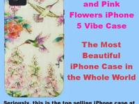 Hummingbirds and Pink Flowers iPhone 4 Case. The top