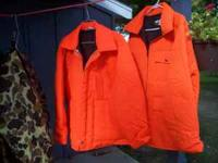 2 florescent orange coats size L, 1 camo coat
