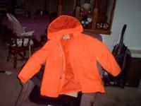 Man's LARGE size florescent orange coat with zip off