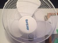 here I have a wall mounted Hurricane fan. it is 18in in