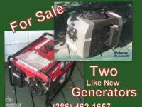 "Two ""Like New"" GENERATORS Hurricane Season is"