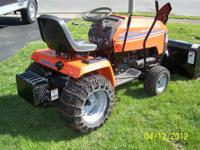 "Husqvarna tractor with 50"" mower deck and 50"" Berko"