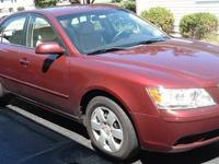 2010 HYUNDAI SONATA 4 DOOR DARK CHERRY OUTSIDE, WITH