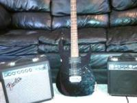 Black Ibanez RG120 Electric Guitar and 2 Fender
