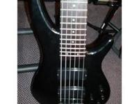 Used Ibanez SR-406 6 String Bass - Black. Some
