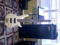 Pearl white Ibanez Sr-535 5 string bass loaded with