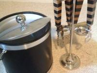 Nice ice bucket with lid and a martini set with stand.