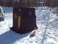 Ice fishing hut, includes 5 ice poles, and 1 Ice Auger.