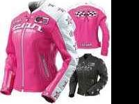 PINK AND WHITE LEATHER ICON RIDING JACKET ONLY WORN