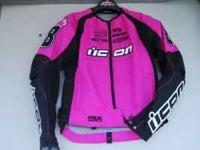 ICON HOT PINK WOMENS RIDING GEAR. JACKET IS SIZE