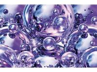 Shiny violet orbs offer a contemporary feel to this