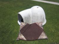 Indigo XL Igloo Insulated dog house with dog bed.
