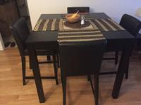 Amazing IKEA Black Dining Table with Matching Leather
