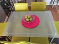Glass top/metal frame IKEA table. 6 lime green Safavieh