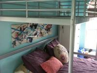 This twin size loft bed is from IKEA, any twin size