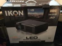 "IKON IK400 LED Smart Projector w/ 72"" digital screen"