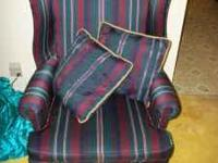 Earth Tone High Back Chair In Perfect Condition For Sale